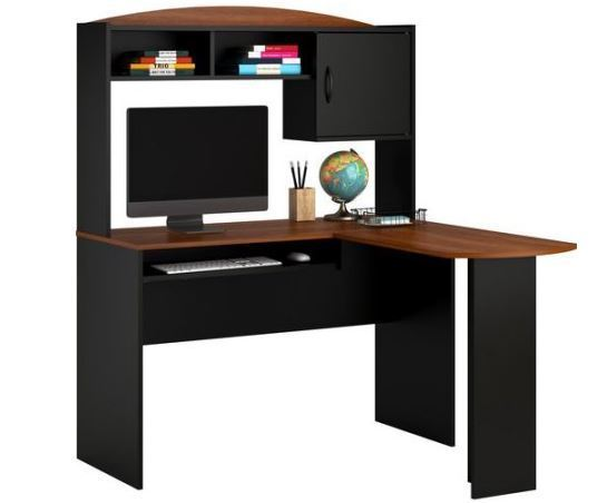 Fabulous Black L Shaped Desk Mainstays L Shaped Desk With Hutch Black Cherry 9324056pcom Ebay