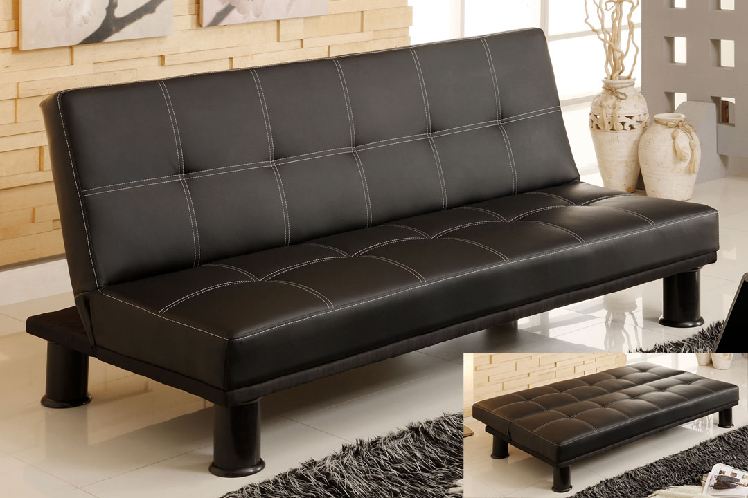 Fabulous Black Leather Futon Couch Futons Sofa Beds Living Room Cm 2394