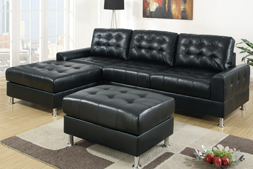 Fabulous Black Sectional Sofa With Chaise Double Chaise Sectional Sofas Type And Finishing Homesfeed