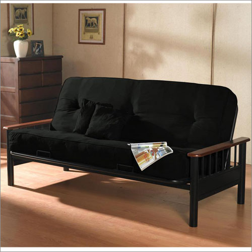 Fabulous Black Wood Futon Frame Futon With Arms Pillowtop Seating In Black Leatherette Coaster