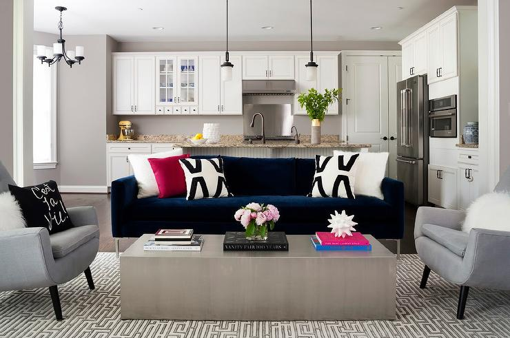 Fabulous Blue And Gray Accent Chairs Dark Blue Velvet Sofa With Black And White Pillows Contemporary