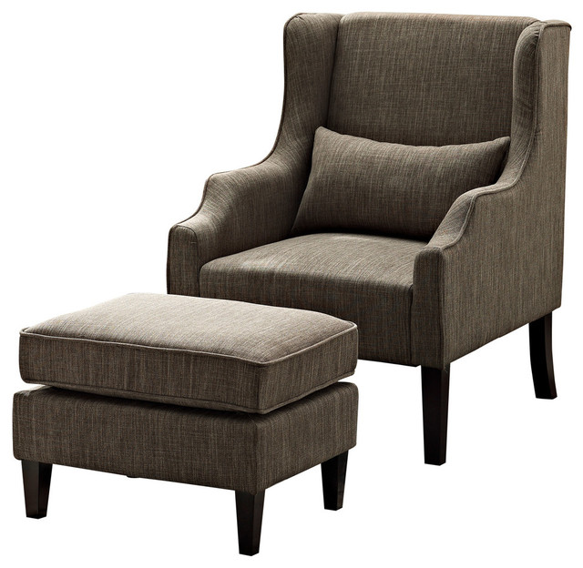 Fabulous Brown Accent Chair With Ottoman Ashbury Wingback Club Chair And Ottoman Transitional Armchairs