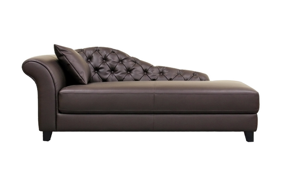 Fabulous Brown Leather Chaise Longue Baxton Studio Josephine Brown Leather Victorian Modern Chaise Lounge