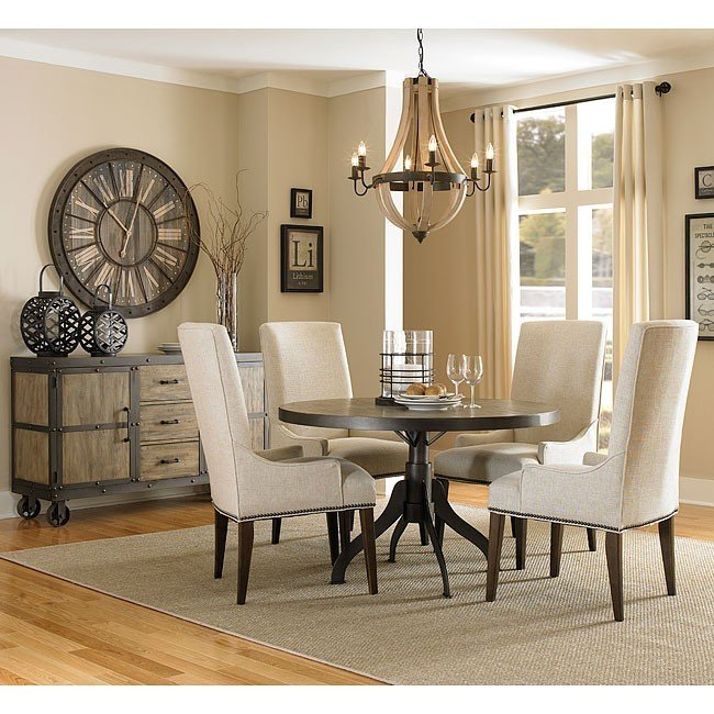 Fabulous Casual Dining Sets Walton Round Dining Room Set W Upholstered Chairs Casual Dining