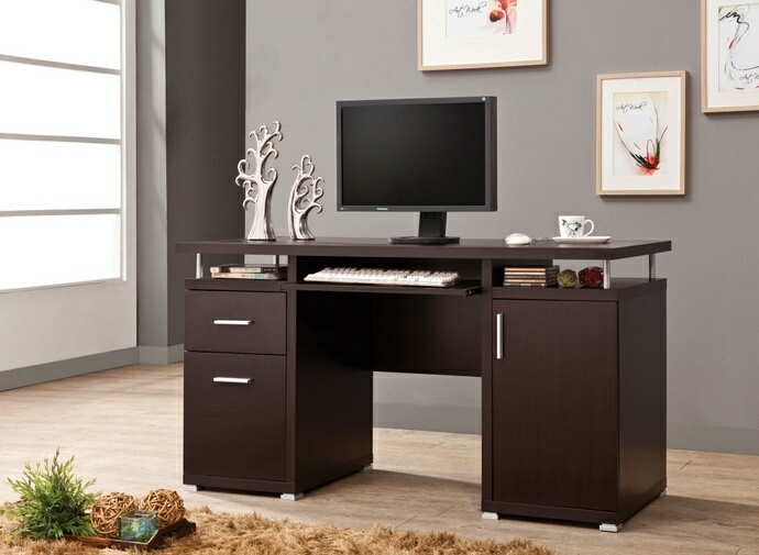 Fabulous Computer Desk And File Cabinet Espresso Finish Wood Office