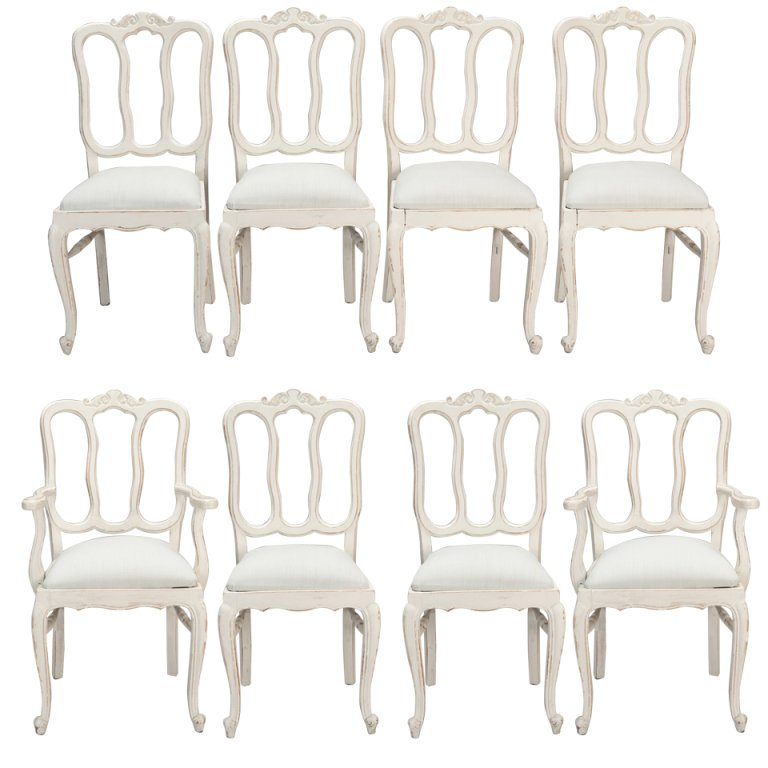 Fabulous French Dining Chairs Set Of Eight French White Painted Open Back Dining Chairs At 1stdibs