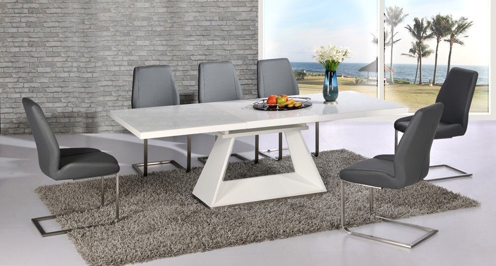 Fabulous Glass Extendable Dining Table Set Innovative Extendable Dining Table Set With Amazing Of White Glass