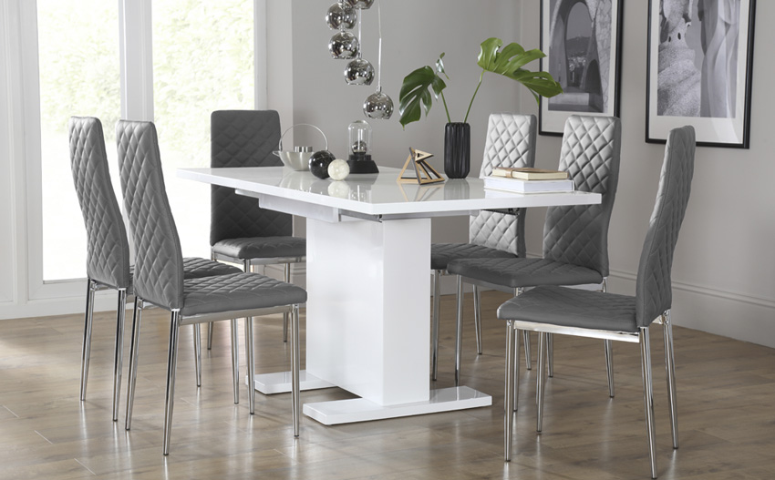 Fabulous Grey And White Dining Chairs Dining Table Sets Furniture Insurserviceonline
