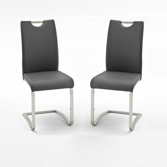 Fabulous Grey Dining Chairs With White Legs Koln Dining Chair In Grey Faux Leather In A Pair 26660