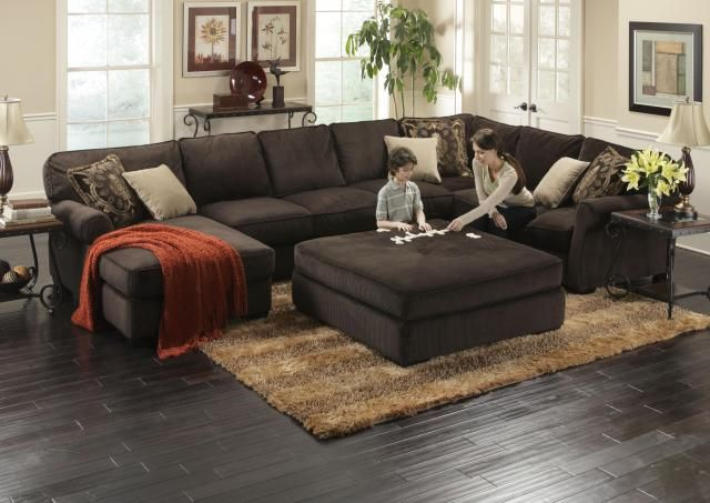 Fabulous Large Sectional Sofa With Ottoman Deep Sectional Feather Cushion Ottoman Great Modern Sectionals