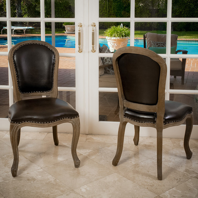 Fabulous Leather And Wood Dining Chairs Trafford Leather Weathered Wood Dining Chairs Set Of 2 Modern