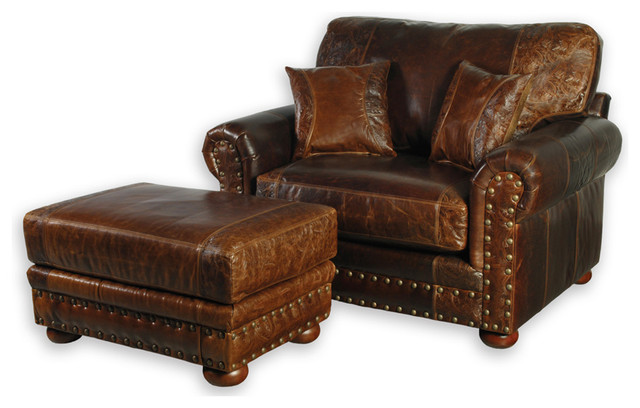 Fabulous Leather Chair And Ottoman Western Style Leather Oversized Chair Southwestern Armchairs