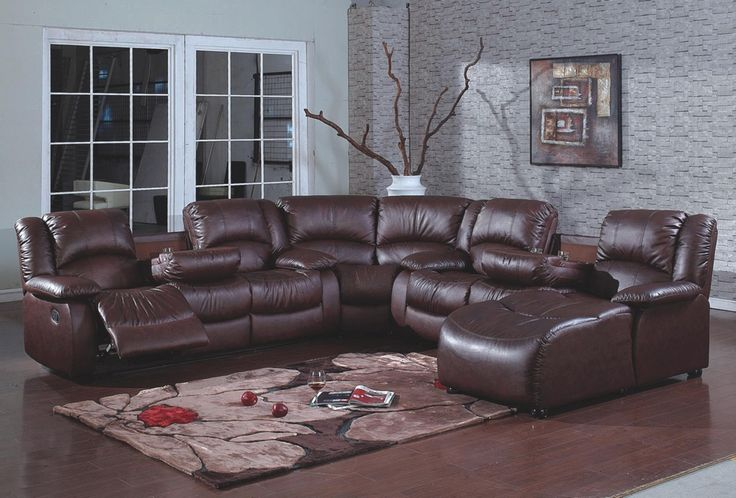 Fabulous Leather Reclining Sectional With Chaise Lounge 4 Pc Brown Bonded Leather Sectional Sofa With Recliners And Chaise