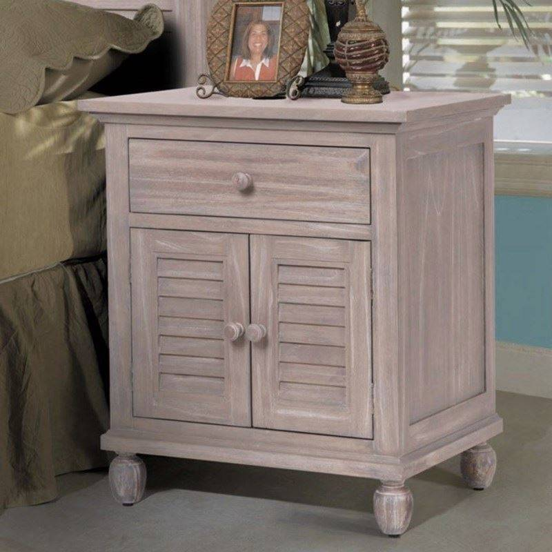 Fabulous Nightstand With Door And Drawer B35732 Rustwd 1 Drawer 2 Door Nightstand Sea Winds Trading
