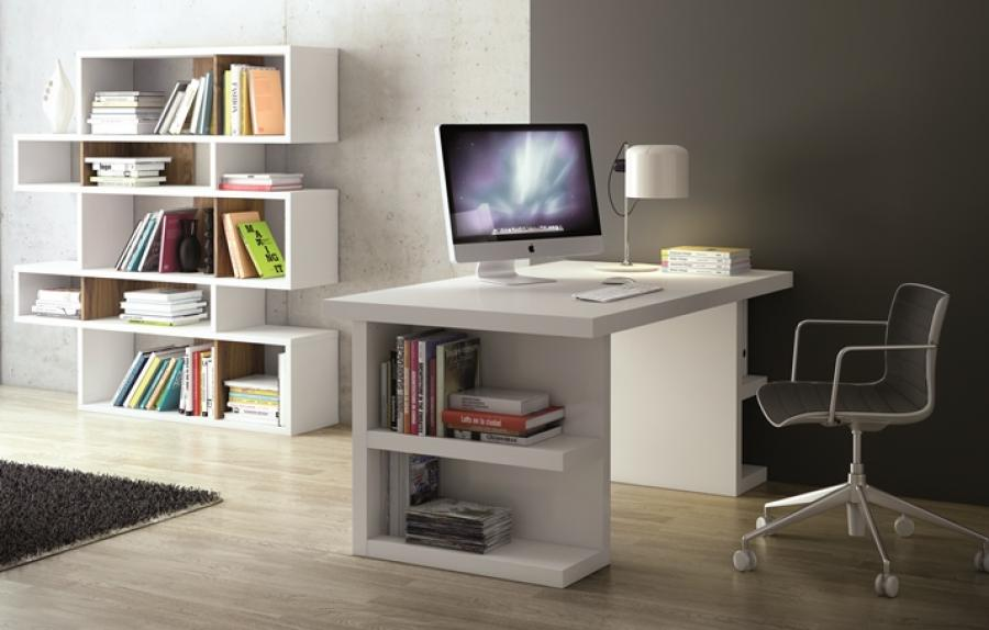 Fabulous Office Table With Storage Temahome Multi Office Table With Side Storage In Pure White Finish