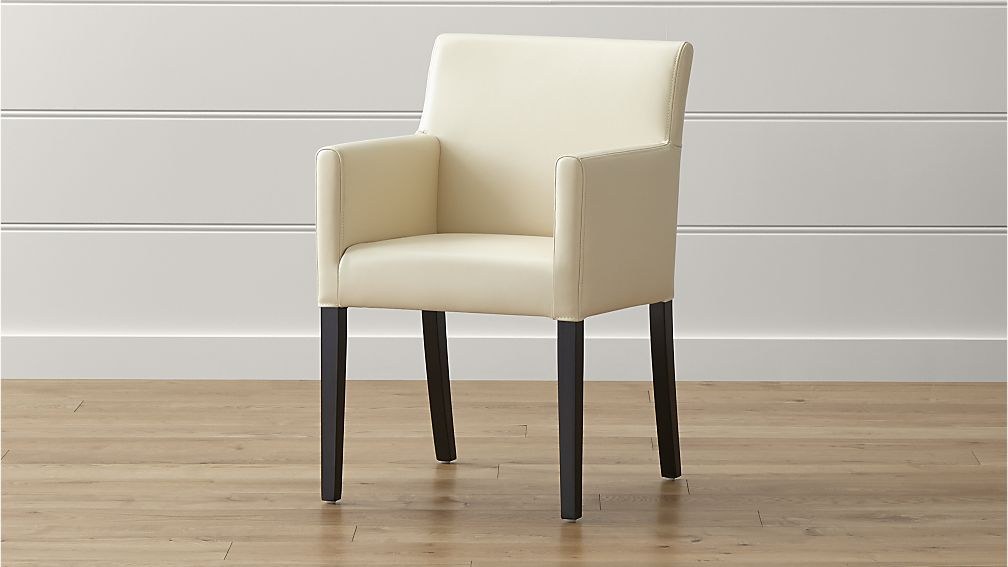 Fabulous Parsons Dining Chairs With Arms Lowe Ivory Leather Dining Arm Chair Crate And Barrel