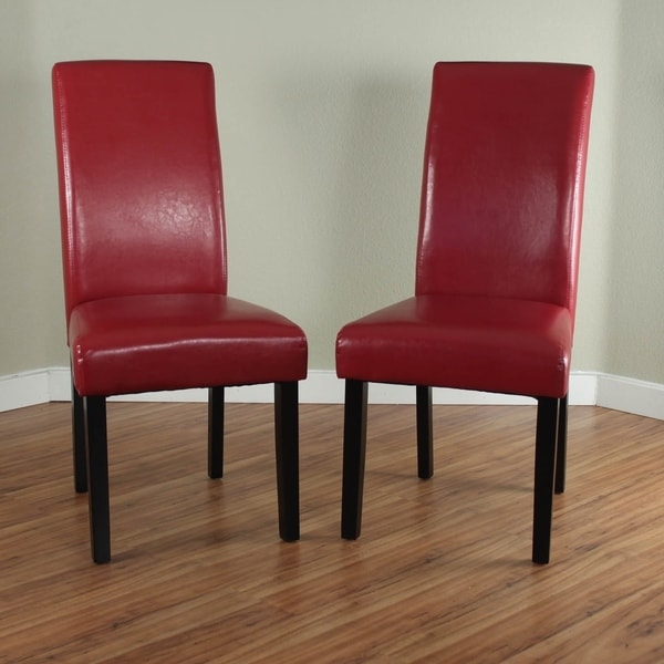 Fabulous Red Dining Chairs Villa Faux Leather Red Dining Chairs Set Of 2 Free Shipping