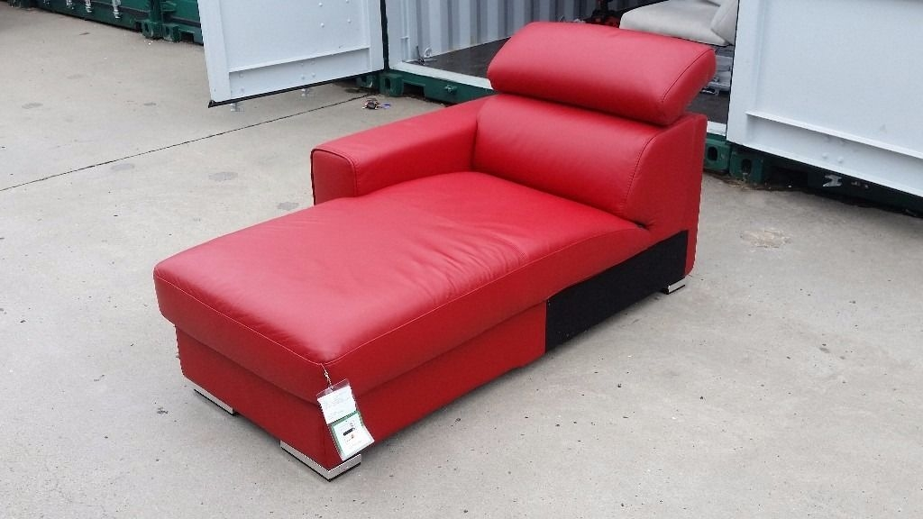 Fabulous Red Leather Chaise Lounge New Kalamos Chaise Lounge Sofa In Red Leather In Swadlincote Red
