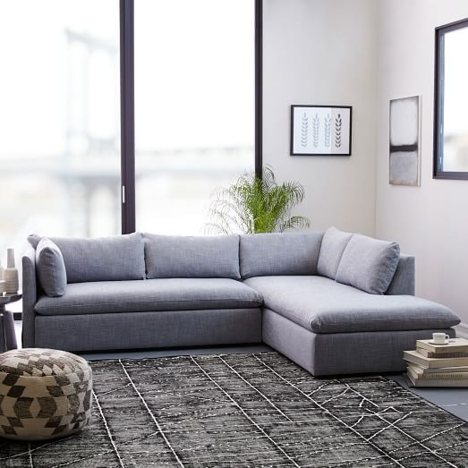 Fabulous Sectional Sofa With 2 Chaises Shelter 2 Piece Terminal Chaise Sectional West Elm