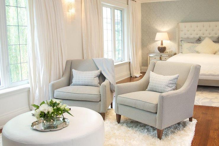 Fabulous Sitting Chair With Ottoman Bedroom Sitting Area With Gray Chairs And White Ottoman