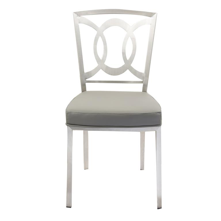 Fabulous Steel Dining Chairs Armen Living Drake Modern Dining Chair In Gray And Stainless Steel