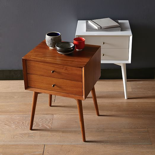 Fabulous White And Brown Nightstand Mid Century Nightstand White West Elm