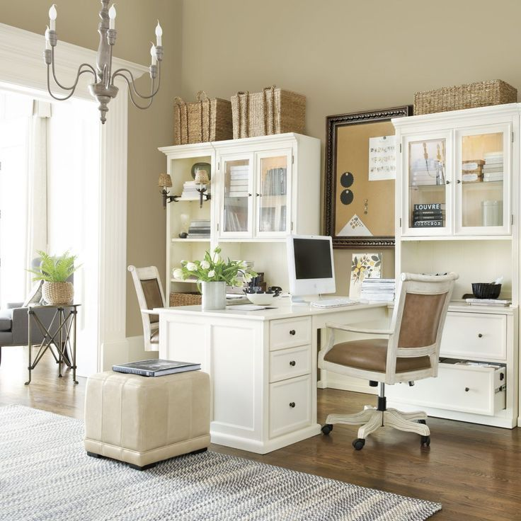 Fabulous White Home Office Furniture White And Airy Home Office Like The Way The Desks Bump Out So 2