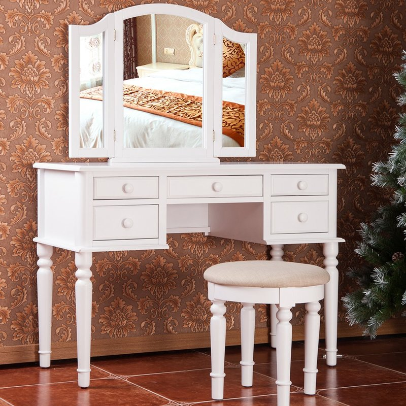 Fabulous White Vanity Desk With Mirror Makeup Tables And Vanities Youll Love Wayfair