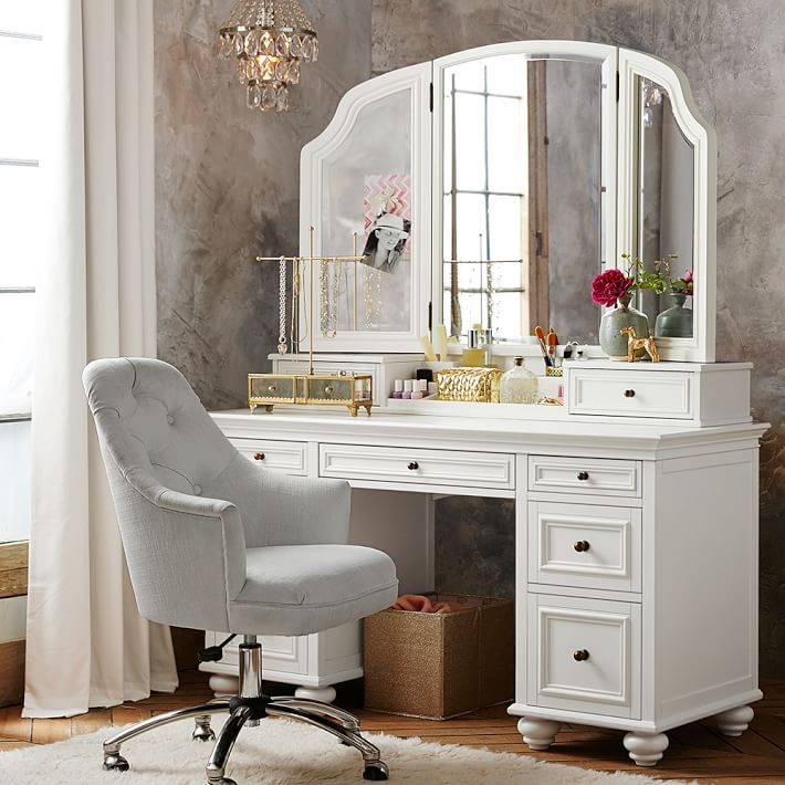 Fabulous White Vanity With Mirror Chelsea Vanity Pbteen