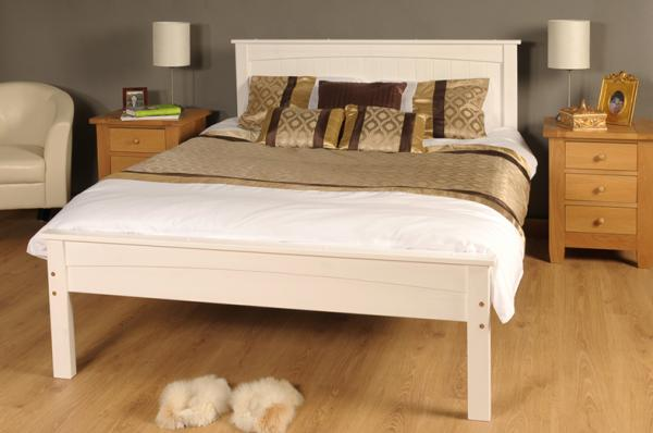 Fabulous White Wooden Bed Frame 3ft Single 4ft6 Double 5ft King Size Caramel White Wooden Bed