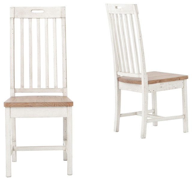 Fabulous Wood And White Dining Chairs Coastal Beach Rustic White Wood Dining Room Chair Set Of 2