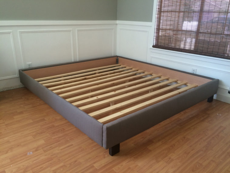 Fabulous Wooden Bed Frame Without Headboard Furniture Gray Upholstered California King Size Platform Bed