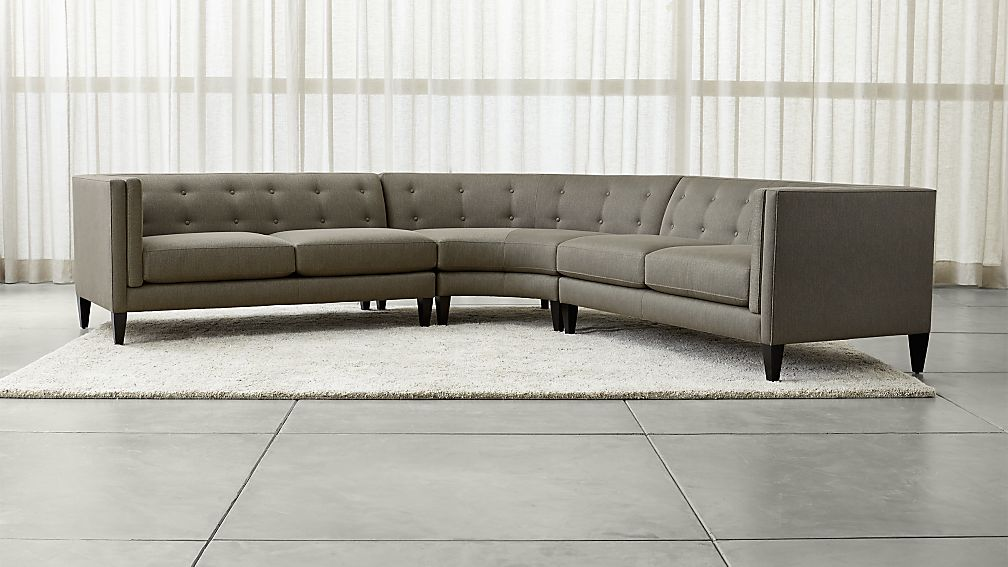 Gorgeous 3 Piece Sectional Couch Aidan Grey 3 Piece Sectional Sofa Crate And Barrel