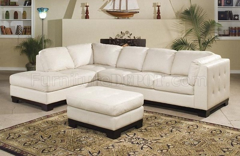 Gorgeous 5 Seat Sectional Sofa 9958iv Tufton Sectional Sofa In Ivory Full Leather Homelegance