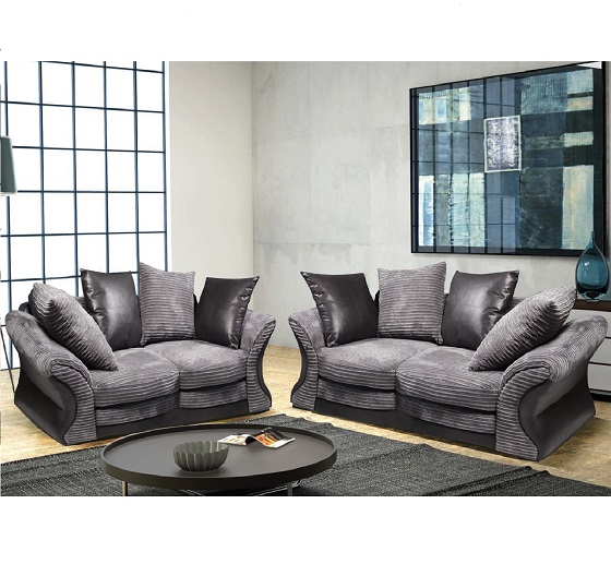 Gorgeous Black And Grey Sofa Fabric Sofa Suite 3 And 2 Seater Grey And Black