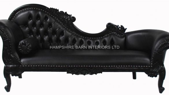 Gorgeous Black Leather Chaise Lounge Wonderful Black Large Chaise Faux Leather Hampshire Barn Interiors Regarding Black Leather Chaise Lounge Modern 585x329