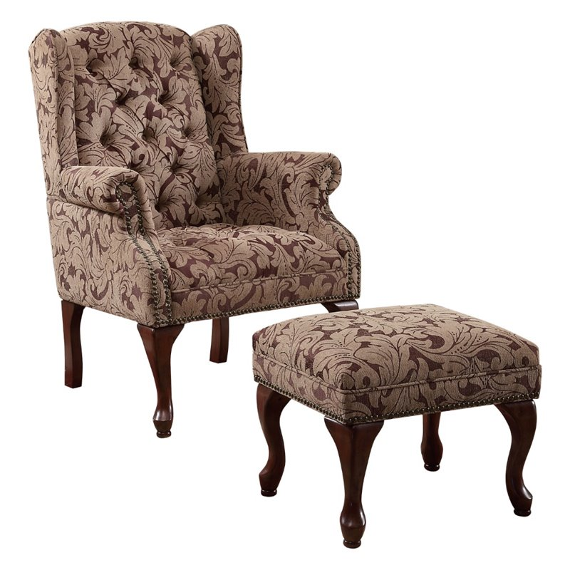 Gorgeous Brown Accent Chair With Ottoman Coaster Queen Anne Button Tufted Wing Accent Chair With Ottoman In