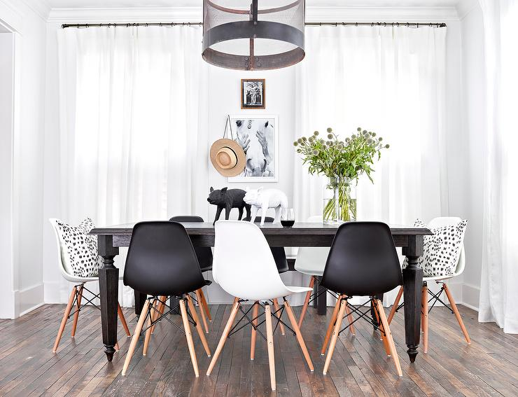 Gorgeous Dining Room Chairs Black And White Live Edge Dining Table With Eames Molded Plastic Dining Chairs
