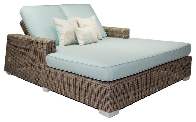 Gorgeous Double Chaise Lounge Outdoor Palisades Outdoor Double Chaise With Cushions Gray Transitional