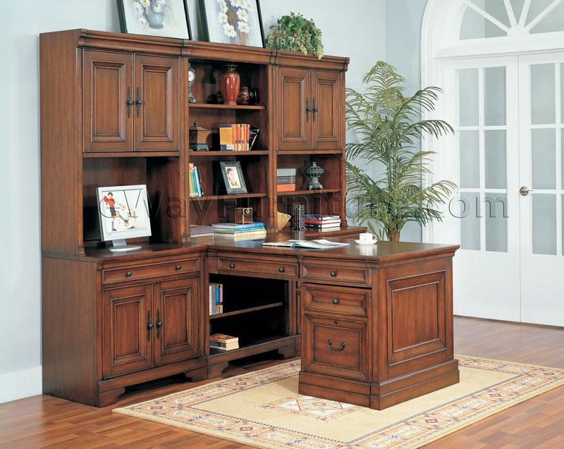 Gorgeous Executive Home Office Furniture Paneled Wood Desk Home Office Furniture Set In Medium Walnut