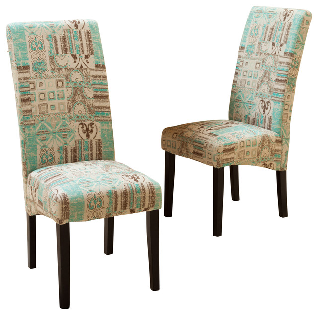 Gorgeous Fabric Dining Chairs India Geometric Fabric Dining Chairs Set Of 2 Contemporary