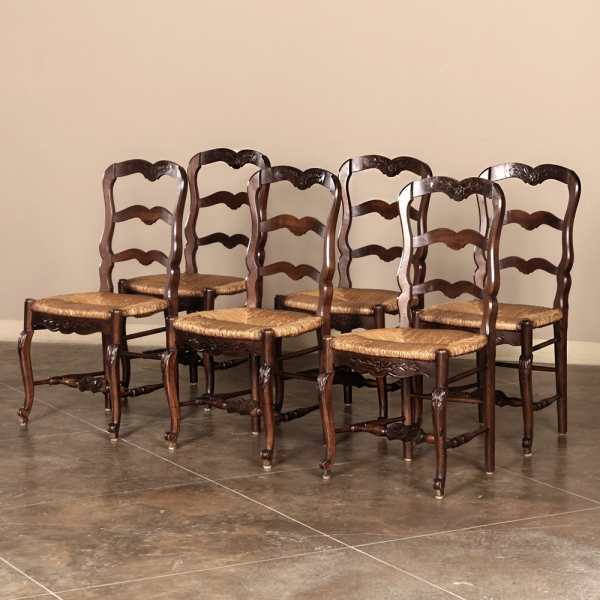 Gorgeous French Dining Chairs Set Of Six Ladderback Rush Seat Country French Dining Chairs