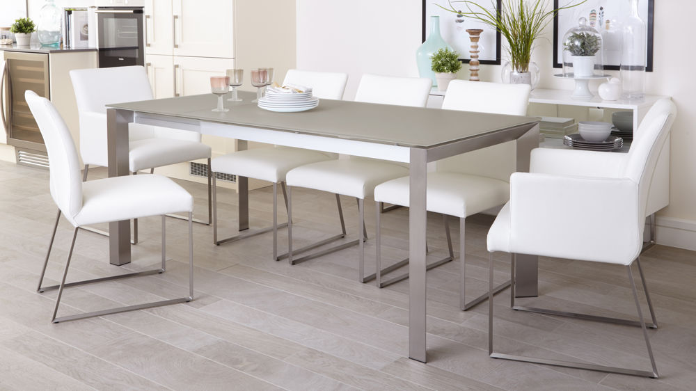 Gorgeous Glass Extendable Dining Table Set Grey Frosted Glass Dining Table Extending Dining Table Uk