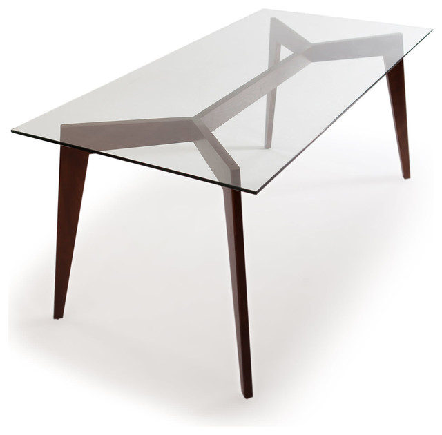 Gorgeous Glass Top Modern Dining Table Deco Blaze Midcentury Modern Dining Table Walnut Legs And Glass