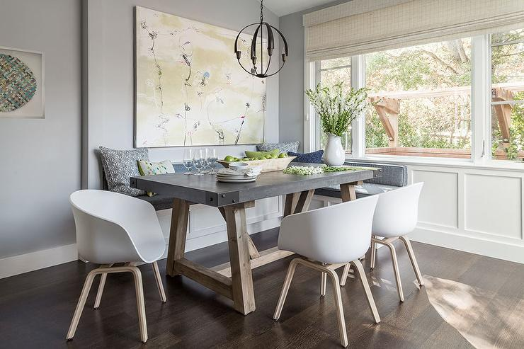 Gorgeous Gray And White Dining Room Chairs Gray Dining Nook With Salvaged Wood And Concrete Dining Table