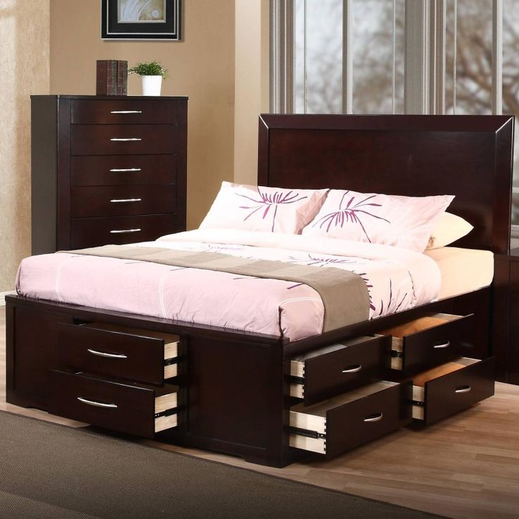 Gorgeous King Bed With Drawers Dark Brown Lacquered Oak Bed Frame Which Equipped With Pile Up