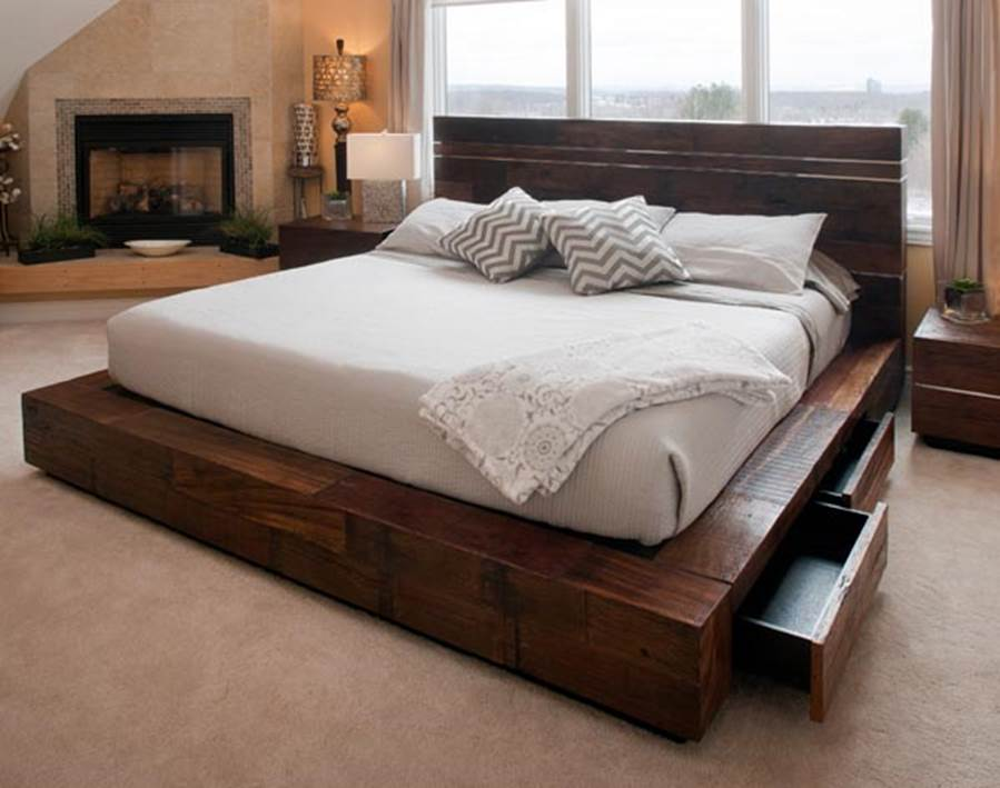 Gorgeous King Bed With Drawers Unique Platform Beds Contemporary Rustic Reclaimed Woods