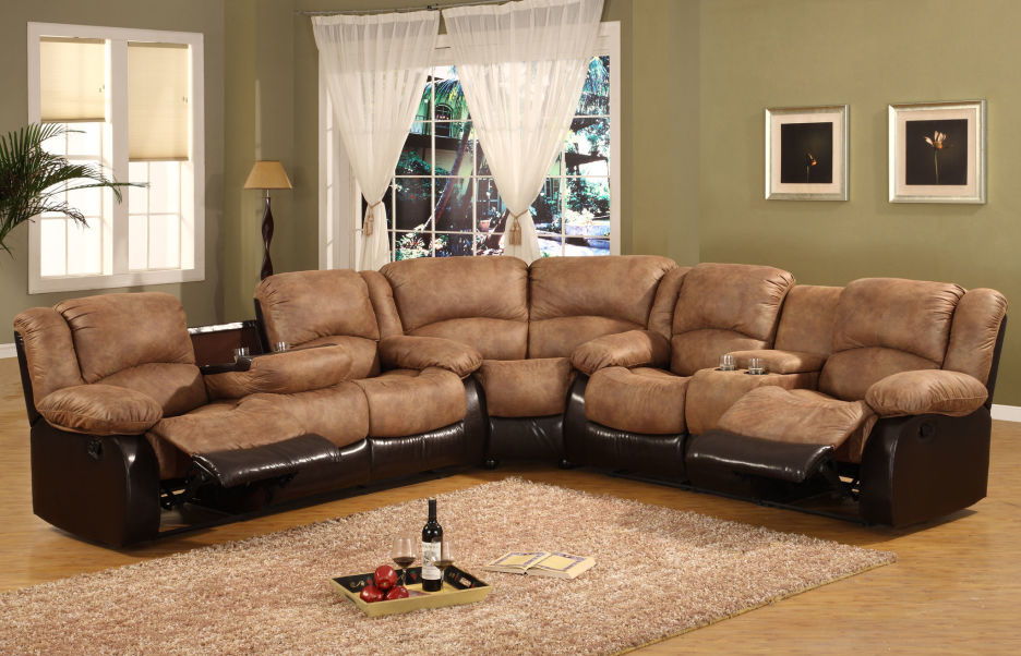 Gorgeous L Shaped Sectional Sofa With Recliner Two Tone Brown Leather Sectional Sofa With Reclining Combined With