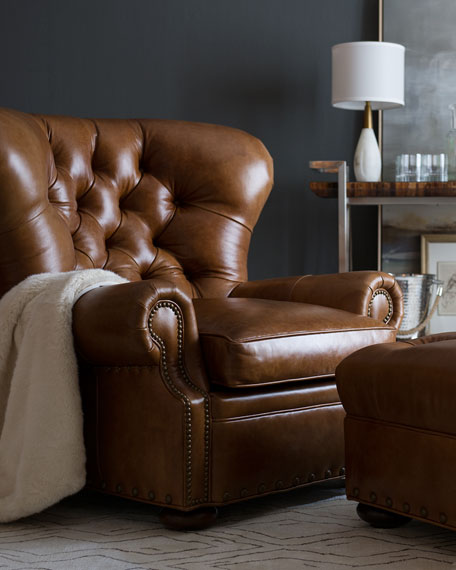Gorgeous Leather Chair And Ottoman Lansbury Tufted Leather Chair Ottoman