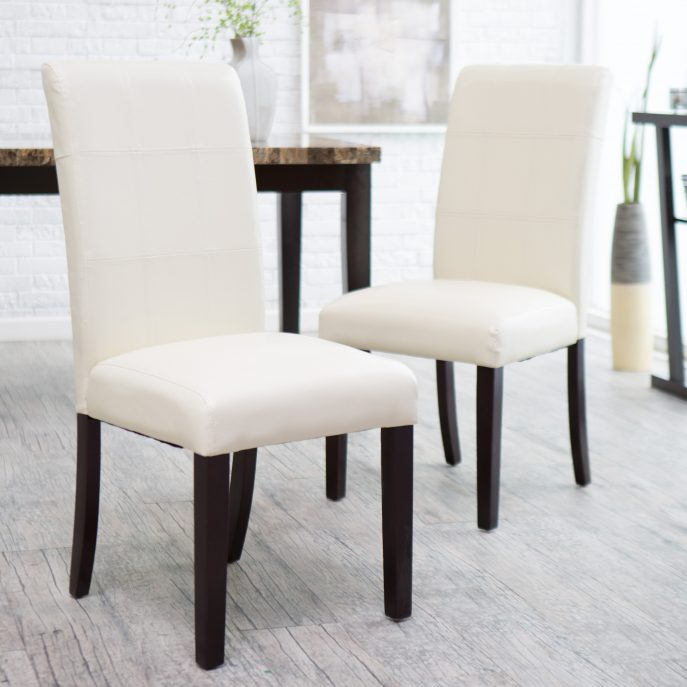 Gorgeous Leather Covered Dining Chairs Dining Room Leather Parsons Chairs Dining Room Dining Room Set
